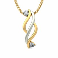 Diamond Pendant 0.06 ct Solid 2 Tone Gold Natural Certified