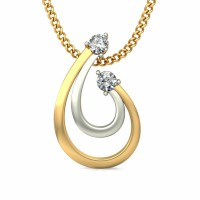 White Gold Diamond Pendant 0.06 ct Solid 2 Tone Gold Natural Certified