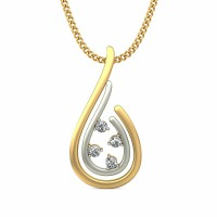 Diamond Pendant Necklace 0.06 ct Solid 2 Tone Gold Natural Certified