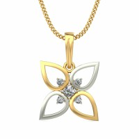 Diamond Necklace & Pendant 0.03 ct Solid 2 Tone Solid Gold Natural Certified