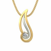 Gold Pendant Necklace 0.03 ct Diamond Solid 2 Tone Gold Natural Certified