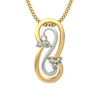Diamond Pendant 0.09 ct Solid 2 Tone Solid Gold Natural Certified