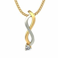 Diamond Pendant 0.025 ct Solid 2 Tone Gold Wedding Natural Certified