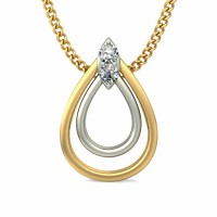 Fine Necklace & Pendant 0.03 ct Diamond Solid 2 Tone Gold Natural Certified