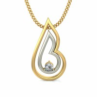 Pendant Necklace 0.03 ct Diamond Solid 2 Tone Gold Natural Certified