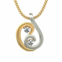 Diamond Pendant Charms 0.06 ct Solid 2 Tone Gold Natural Certified