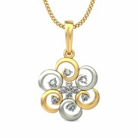 Diamond Pendant Necklace 0.15 ct Solid 2 Tone Gold Natural Certified