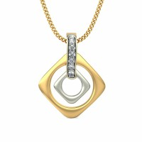 Diamond Pendant 0.036 ct Solid 2 Tone Gold Natural Certified