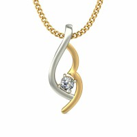 White Gold Diamond Pendant 0.03 ct Solid 2 Tone Gold Natural Certified