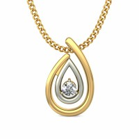 Gold Pendant 0.025 ct Diamond Solid 2 Tone Gold Natural Certified