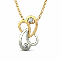 Diamond Pendant 0.03 ct Solid 2 Tone Gold Natural Certified