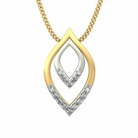 Fine Necklace & Pendant 0.084 ct Diamond Solid 2 Tone Gold Natural Certified