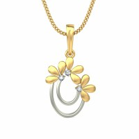 Diamond Necklace & Pendant 0.045 ct Solid 2 Tone Gold Natural Certified