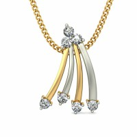Pendant Necklace 0.10 ct Diamond Solid 2 Tone Gold Natural Certified