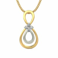 Gold Pendant 0.06 ct Diamond Solid 2 Tone Gold Natural Certified