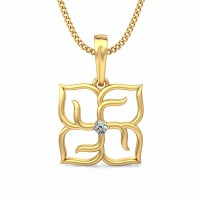 Diamond Pendant Charms 0.03 ct Solid 2 Tone Gold Natural Certified
