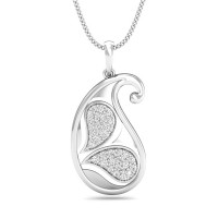 Gold Pendant Necklace 0.22 ct Diamond For Anniversary Natural Certified