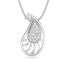 Diamond Pendant Necklace 0.13 ct Solid White Gold Natural Certified