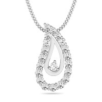 Fine Necklace & Pendant 0.28 ct Diamond Solid Gold For Anniversary Natural Certified