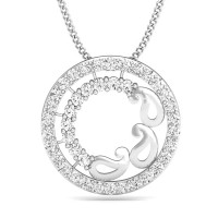 White Gold Diamond Pendant 0.34 ct Necklace Natural Certified