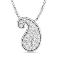 White Gold Diamond Pendant 0.15 ct Anniversary Necklace Natural Certified