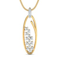 Gold Pendant Necklace 0.16 Ct Natural Certified Diamond Office Wear