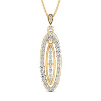 Gold Pendant Necklace 0.67 Ct Natural Certified Diamond Vacation