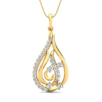 Diamond Pendant 0.3 Ct Natural Certified Solid Gold Office Wear