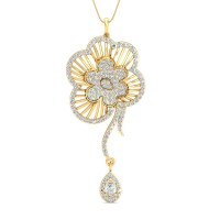 Gold Pendant 1.5 Ct Natural Certified Diamond Festive