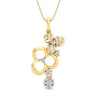 Diamond Necklace & Pendant 0.35 Ct Natural Certified Solid Gold Workwear