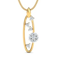 Gold Pendant 0.18 Ct Natural Certified Diamond Everyday