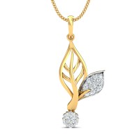 Gold Pendant 0.29 Ct Natural Certified Diamond Workwear