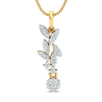Diamond Necklace & Pendant 0.32 Ct Natural Certified Solid Gold Office Wear