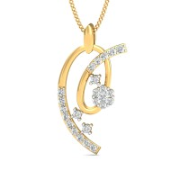 Gold Pendant Necklace 0.28 Ct Natural Certified Diamond Workwear