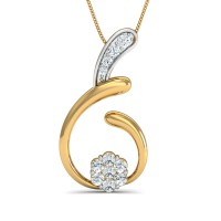 Gold Pendant Necklace 0.18 Ct Natural Certified Diamond Festive