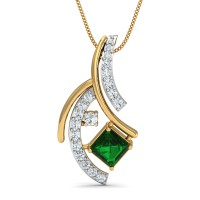 Diamond Pendant Charms 0.12 Ct Natural Certified Emerald Solid Gold Festive