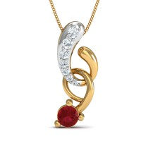 Diamond Necklace & Pendant 0.08 Ct Natural Certified Solid Gold Ruby Party