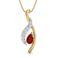 Diamond Pendant Necklace 0.04 Ct Natural Certified Solid Gold Ruby Everyday