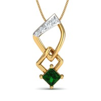 Gold Pendant Necklace 0.05 Ct Natural Certified Diamond Emerald Office Wear