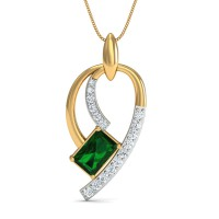 Fine Necklace & Pendant 0.16 Ct Natural Certified Diamond Emerald Office Wear