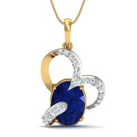 Gold Pendant 0.18 Ct Natural Certifed Diamond Blue Sapphire Party