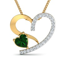 Diamond Pendant Necklace 0.12 Ct Natural Certifed Solid Gold Emerald Workwear