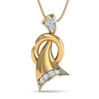 Gold Pendant Necklace 0.05 Ct Natural Certified Diamond Vacation