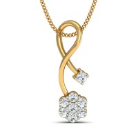 Gold Pendant Necklace 0.21 Ct Natural Certified Diamond Party