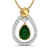 Fine Necklace & Pendant 0.18 Ct Natural Certified Diamond Emerald Vacation