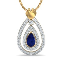 Diamond Necklace & Pendant 0.28 Ct Natural Certified Solid Gold Blue Sapphire Everyday