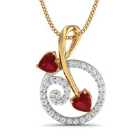 Diamond Pendant 0.21 Ct Natural Certified Solid Gold Ruby Office Wear