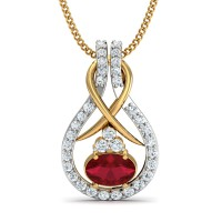 Gold Pendant 0.2 Ct Natural Certified Diamond Ruby Weekend