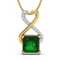 Gold Pendant Necklace 0.08 Ct Natural Certified Diamond Emerald Festive