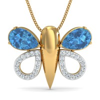 Fine Necklace & Pendant 0.19 Ct Natural Certified Diamond Blue Topaz Party